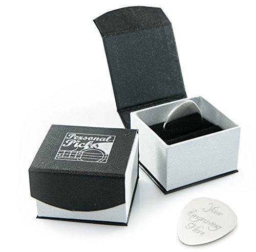 Plettro argentato per chitarra / Plettro con elegante custodia magnetica di presentazione  e incisione personalizzabile