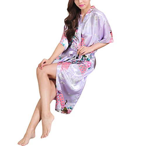 Waymoda Women's Luxury Silky Satin Nightwear Dressing Gown, Peacock and Blossoms Pattern Kimono Pajamas, 10+ Color, 5 Sizes Optional - Long style Light Purple