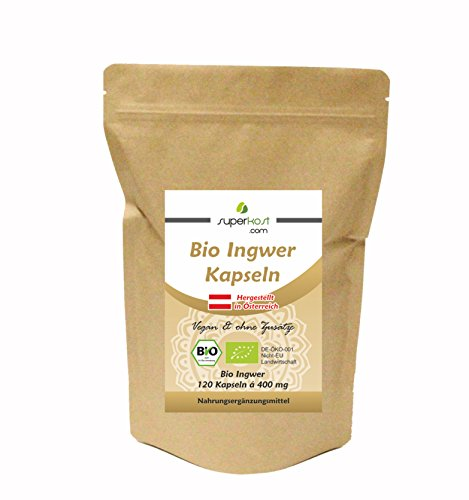 Superkost 120 Stk. BIO Ingwer Kapseln 400 mg pro Kapsel, Hochdosiert, Vegan, Frei von jeglichen Zusatzstoffe, Ohne Magnesiumstearat, 4 Monatspackung