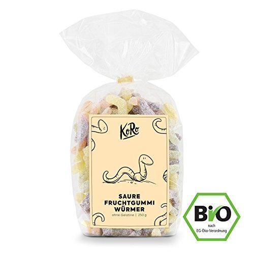 BIO Saure Würmer  Fruchtgummi Ohne Gelatine  Vegan  Vegetarisch  Süß Saurer Snack  500 g Packung...
