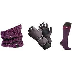 Heat Holders - Donna vestiti del pattino kit Accessori insieme compreso guanti da sci calze da sci e scaldacollo (guanti M/L, Viola Scaldacollo / Viola Fucsia Sci Calze)