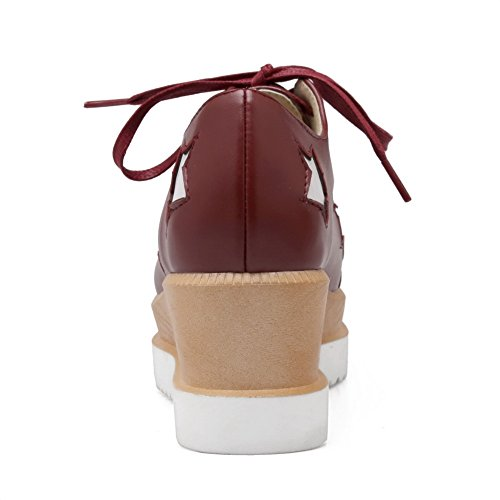 VogueZone009 Femme Lacet Carré Fermeture D'Orteil à Talon Correct Pu Cuir Chaussures Légeres Rouge