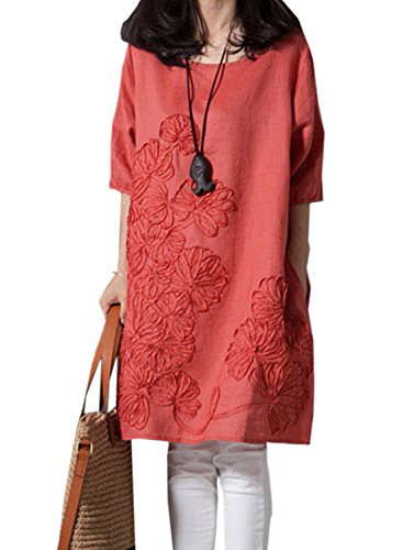 ACHICIGIRL Casual Demure Loose Solid Linen Dress Orange
