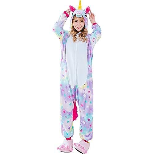 pijama de unicornio kawaii Oksakady Adulto Unisex Unicornio Onesies Franela Cosplay Animales Pijamas Con Capucha Ropa de Dormir