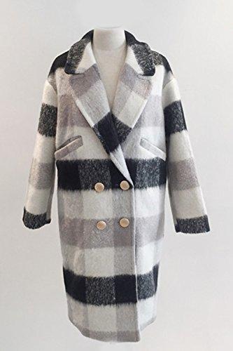 Le Donne Lo Stile Britannico Risvolto Doppiopetto Controllato L'inverno Impermeabile Outwear Grey