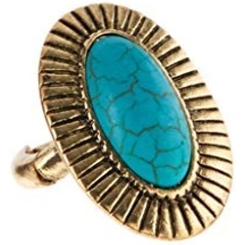 Lux accessori turchese & Oro brunito ribbed-frame Anello elastico - Womens Anello Trio