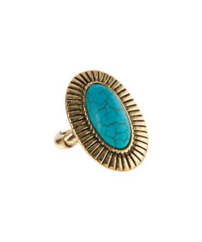 Lux accessori turchese & Oro brunito ribbed-frame Anello elastico