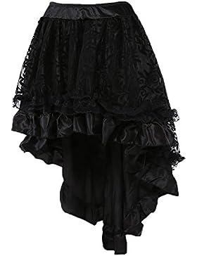 coswe para faldas de mujer negro Punk Irregular Vestido Steam Punk cóctel gasa Punta Party Rock Cosplay Disfraz