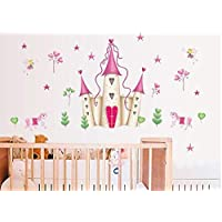 LGDB Wall Sticker Removable Pink Princess Castle Girl room Tower Wall sticker for Girls/Kids/Children Bedroom Wall Mural