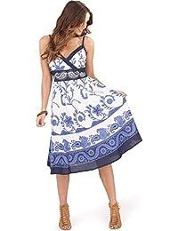 bbcfa5a7a02f Plissiertes Baumwollkleid für Damen mit Blumenmotiv von Pistachio, Lang  oder Kurz, blau, violett