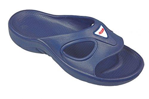 AQUA-SPEED® CORSICA Badelatschen für Damen (Blau Navy Badeschlappen Anti-Rutsch-Struktur Schwimmbad Pool Urlaub Meer + UP®-Sticker) Navy 10