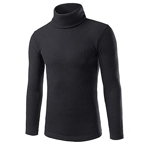 Kolylong Man's Fashion classic Casual High-collar Sweaters Tops (M, Black)