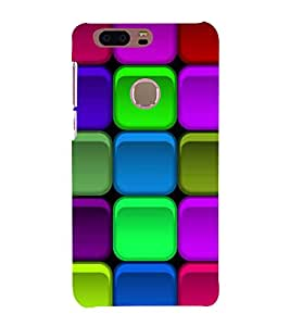 PrintVisa Square Colorful Design 3D Hard Polycarbonate Designer Back Case Cover for Huawei Honor 8