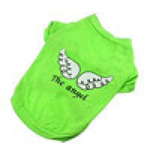 ZTMN Süßer Hund Haustier Sommer Atmungsaktiv Bequeme Baumwolle The Angel Vest Ärmellose T-Shirts Kleidung (XS, Grün) (Farbe: Lila, Größe: M)