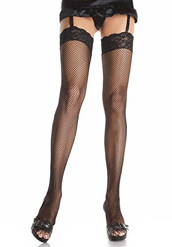 LEG AVENUE 9023Q - Plus Size Fishnet Stockings, Einheitsgröße, Farbe: Schwarz (Stocking Size Fishnet Plus)