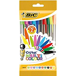 BIC Cristal Multicolour bolígrafos Punta Ancha (1,6 mm) - colores Surtidos, Blíster de 10 unidades
