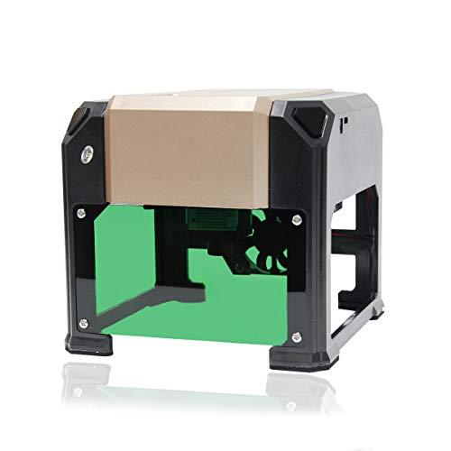 Wisamic DIY Lasergravurmaschine Laser Engraver Printer - 3000 mW Mini Drucker USB Wireless Machine für Kunst Handwerk Wissenschaft, Carver Größe 80 x 80mm