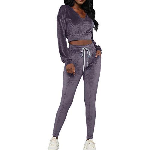 Vertvie Damen 2 Teillig Bekleidungsset Samt Velvet Oberteile Top Leggings Set Outdoor Casual Langarm Jacke Hose (S, Grau 1) -