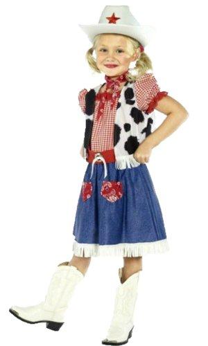 Luxuspiraten - Mädchen Karneval Komplettkostüm Cowgirl Country Kostüm, alle sichtbaren Teile, blau rot weiß, 7-9 - Halloween-kostüm Weiss-cowboy-stiefel