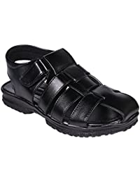 Luckyman Men's Black Sandals- Size (6,7,8,9,10)