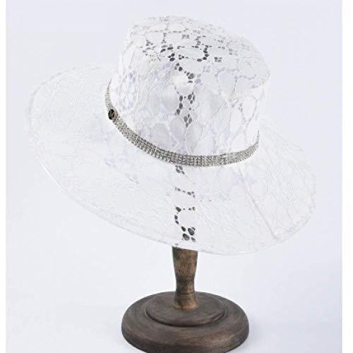 FSDMNFHJEI PVC Transparent Visier Sonnenhut Kunststoff Visier M Brief Breite Seite Sommer Hüte für Frauen Schwarz Spitze Kappe Frauen Bühnenshow Strand Hut