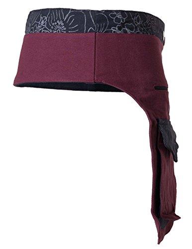 vishes - Gürteltasche aus Baumwolle - mit Druckknöpfen aus Bauwolle Größe 32 bis 40 (Schwarz-Dunkelgrau) Dunkelrot-Schwarz