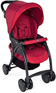 Chicco Simplicity Plus Stroller (Red), Stroller for Newborn Babies and Toddlers, 0m+, Pram for Boys and Girls
