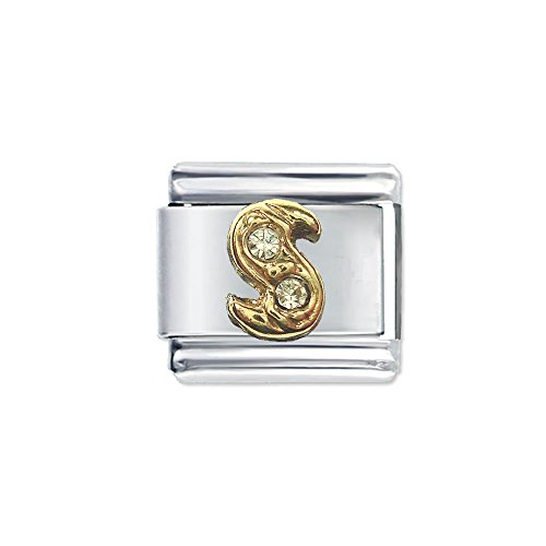 Quiges - 9mm Italian Style Charm Modul Edelstahl Alphabet Buchstaben S für Italienische Armbänder