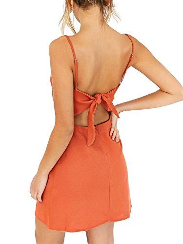 Simplee Apparel womnen summer casual svuotare plain cinghia bodycon mini vestito Arancione
