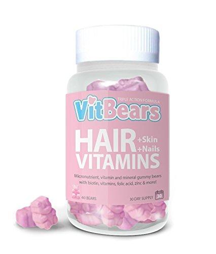 Vitbears Hair Bears, orsetti gommosi alla Biotina, Vitamine per capelli, pelle e unghie, vegetariani, 60 orsetti(1mese di fornitura)