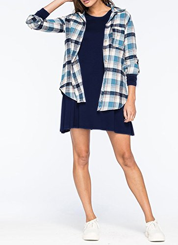 Trary Damen Langarm Basic Kleider Herbst Casual Loose Kleid Navy Blau