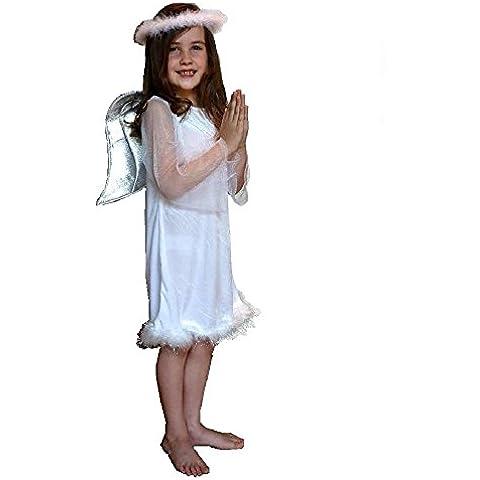 Bianco Velour–Costume da angelo presepe costume: Bambino età