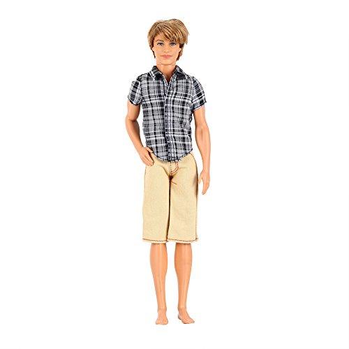 Etbotu Puppe Kleidung Mode lässig kariertes Hemd mit Khaki Shorts Set für Barbie Freund Ken Puppe (Schuhe Anna Krönung)