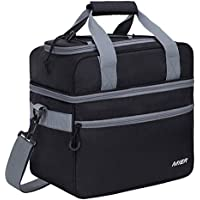 MIER 2 Compartment Large Cool Tote Bag Insulated Cooler Bag for Lunch, Picnic, Camping, Beach, Car Trip, Hiking, Travel, 22L, Black