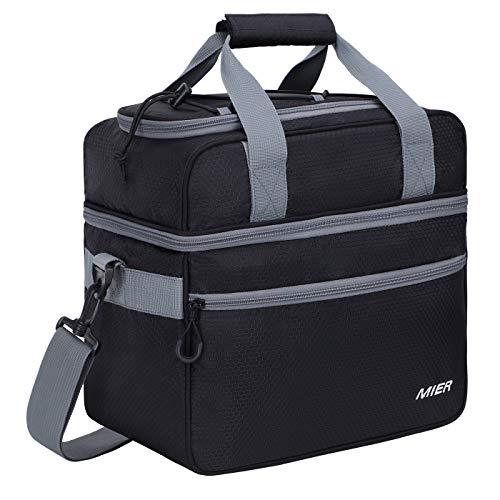 MIER doble compartimento bolsa térmica tamaño grande con aislamiento bolsa para el...