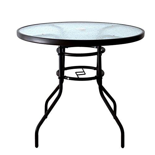 Outdoor-tisch Mit Glas (AOODA Terrassentisch Esstisch Regenschirmständer Tisch mit Tischplatte aus gehärtetem Glas, Terrassen-Bistrotisch Hof-Deck Outdoor Möbel Gartentisch für Hinterhof, Balkon, Pool Round)