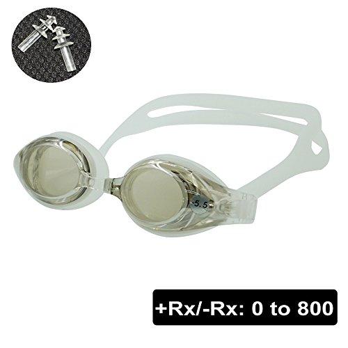 EnzoDate optische Brille Hyperopie RX + 1 bis + 8 Myopie - 1 bis-8 Erwachsene Kinder unterschiedliche Stärken für jedes Auge Schwimmen (Kraft: -500, Transparent)