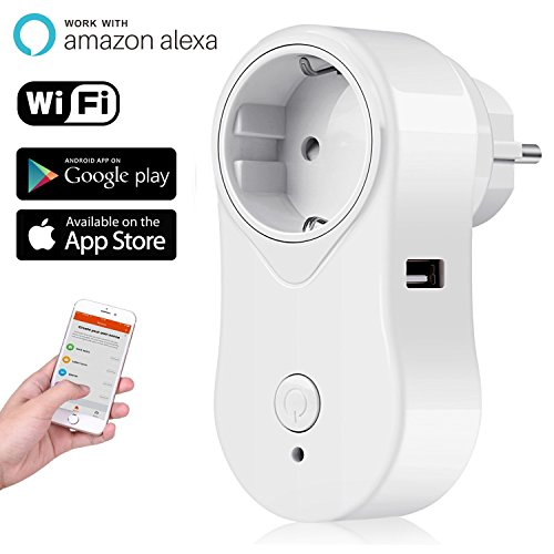 Toma inteligente Alexa WiFi iintelli unirá Conector Wifi Smart Plug Wireless Outlet con puerto USB funciona para iOS y Android Smartphones App, compatible con Amazon Echo Dot, Google Home 2200.00W, 240.00V