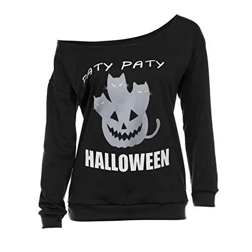(Yesmile Damen Kapuzenpullover Damen Schulterfrei Sweatshirt Kapuzenpullover Halloween Lange Ärmel T-Shirt Tops Bluse)