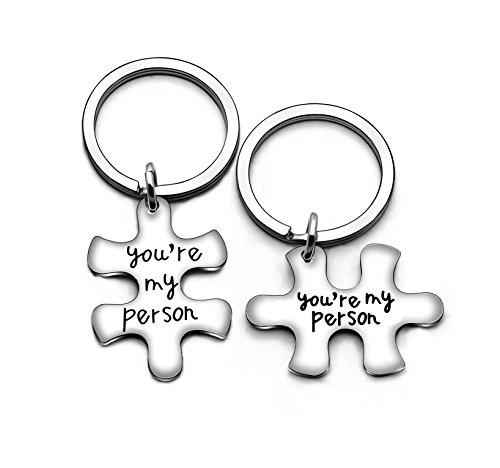 Portachiavi per coppia, fidanzato, fidanzata, familiari, idea regalo per San Valentino, Natale, 2 pezzi, You're My Person (Argento) - A0376K