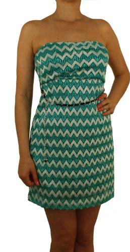 9716 Damen Mädchen Minikleid, Häkel, grün, blau, schwarz, rot, beige, Unigröße (S, M) Grün-Weiß