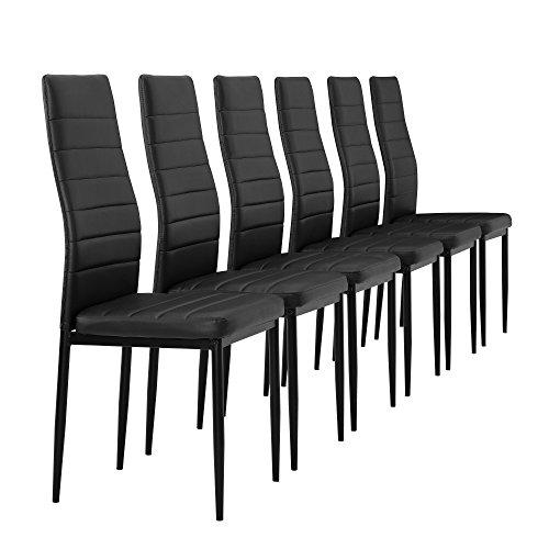 [en.casa] 6 x sillas de comedor (negro) tapizadas...