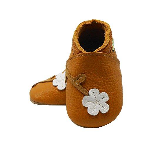 Sayoyo Pflaume Blumen WeichesLeder Lauflernschuhe Krabbelschuhe Babyschuhe Braun Blume