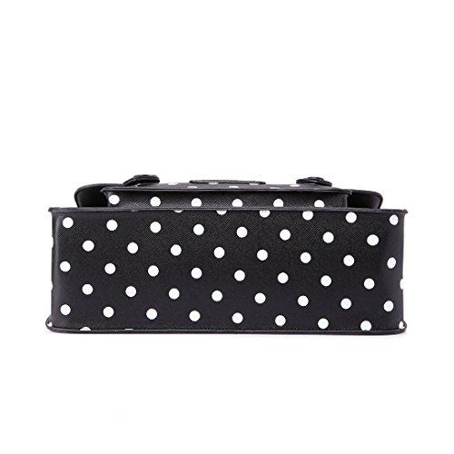 Miss Lulu marca Vintage a pois in finta pelle lavoro ventiquattrore borsa sacchetto di scuola borsa (Polka Dots Black)