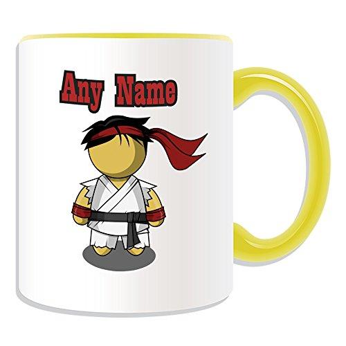 Personalisiertes Geschenk-Karate Ryu Tasse (Sport und Hobby Design Thema, Farbe Optionen)-alle Nachricht/Name auf Ihre einzigartige-Martial Art Street Fighter schwarz Gürtel, keramik, gelb -