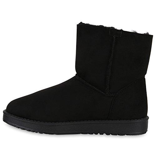 Warm Gefütterte Damen Stiefeletten Schlupfstiefel Boots Stiefel Schwarz