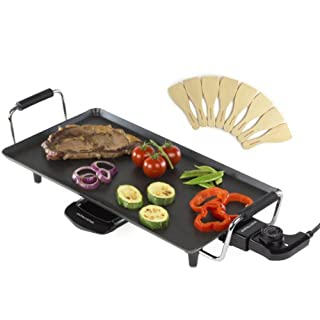 Andrew James Teppanyaki Grill | Large 46cm x 24.5cm Non-Stick Cooking Surface with 8 Spatula & Adjustable Temperature Control