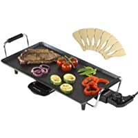 Andrew James Teppanyaki Electric Grill Plate | Large Non-Stick Tabletop Griddle With 46cm x 24.5cm Hot Plate & Adjustable Temperature | Includes 8 Wooden Spatula & Recipes in Manual