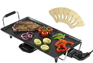 Andrew james electric teppanyaki table grill non stick cooking surface 46 x 2000w 6 - Grillplaat gas b ruleurs ...