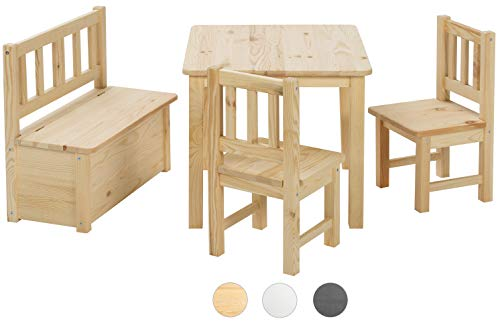 BOMI Kindertisch mit 2 Stühle mit integrierter Spielzeugkiste | Kindertruhenbank aus Kiefer Massiv Holz | unbehandelt und unlackiert | naturbelassene Sitzmöbel für Kinder